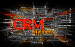 Cloud of business words. Centered in the CRM software concept. Background in black with a zoom blur over the words Stock Photography