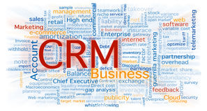 Cloud of business words. Centered in the crm software concept. Background on white with a blurred zoom over the words Royalty Free Stock Images