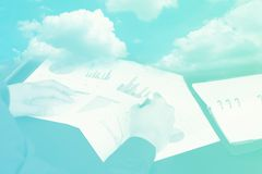 cloud and businessman hand with marketing document background wi stock photos