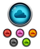 Cloud button icon. Glossy cloud button icon set in 6 colors Stock Photo