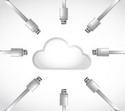 Cloud cable connections illustration design Royalty Free Stock Photos