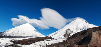 Cloud cap on the tops of mountains Royalty Free Stock Photography
