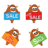 Cloud cartoon character illustration holding sale sign board. Vector illustration Stock Photography