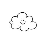 Cloud cartoon outline. On white background Stock Photo