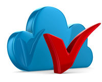 Cloud and checkmark on white background Royalty Free Stock Image