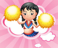 A cloud with a cheerleader. Illustration of a cloud with a cheerleader Stock Photo