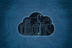 Cloud on circuit background Royalty Free Stock Image