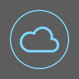 Cloud circular line icon. Round colorful sign. Flat style vector symbol. Stock Photo
