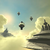 Cloud city. 3D rendered scifi cloud city with clouds and space ship Stock Photography