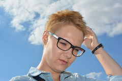 Cloud clouds glasses face blonde hair perfect day cloud cloudy light lighting hair Royalty Free Stock Photos