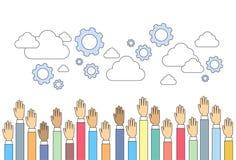Cloud Cogwheel Raised Up Hands International Union Concept Royalty Free Stock Photography