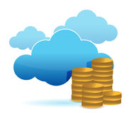 Cloud and coins illustration design Royalty Free Stock Photography