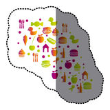 Cloud color food blackground icon Stock Photo