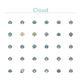 Cloud Colored Line Icons. Cloud and Server colored line icons set. Vector illustration Royalty Free Stock Photography