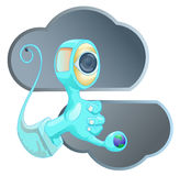 Cloud communication concept. Illustration of cloud communication concept, cloud icon, and blue hand with eyes and globe on finger Stock Photos