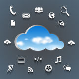 Cloud and communication and network flat design Stock Photos