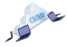 Cloud computer. Render of a cloud computer system Stock Image