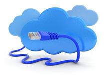 Cloud and computer cable (clipping path included) Royalty Free Stock Image