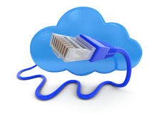 Cloud and computer cable. Image with clipping path Stock Photos