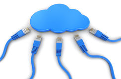 Cloud and computer cables. Image with clipping path Stock Photo