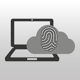 Cloud computer connected fingerprint secure Stock Photo