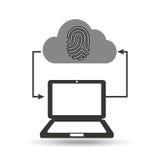 Cloud computer connected fingerprint secure. Vector illustration eps 10 Stock Photo