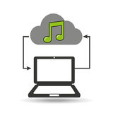 Cloud computer connected music note. Vector illustration eps 10 Stock Image