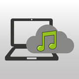 Cloud computer connected music note. Vector illustration eps 10 Royalty Free Stock Photo