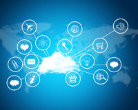 Cloud with computer icons. Technology concept Royalty Free Stock Photo