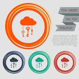 Cloud computer storage with lock icon on the red, blue, green, orange buttons for your website and design with space text. Royalty Free Stock Photo