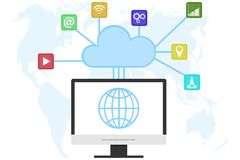 Cloud computer technology, cloud computer service. Internet technologies of information storage. Flat design, illustration vector illustration