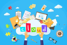 Cloud Computer Technology Internet Data. Information Storage Flat Vector Illustration Royalty Free Stock Photography