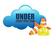 Cloud computer under construction technology Royalty Free Stock Images