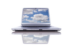 Cloud Computing. Concept in a modern laptop isolated on white stock image