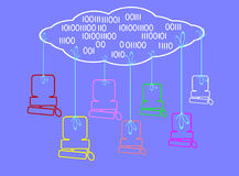 Cloud computing. The symbol of cloud computing. It is a theme of computers and networks Stock Photography