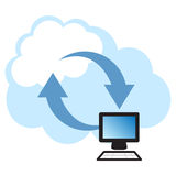 Cloud Computing. Concept. Client computer synchronizing data with the cloud Stock Photos