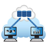 Cloud Computing. Concept. Client computers accessing the database located in the cloud Royalty Free Stock Images