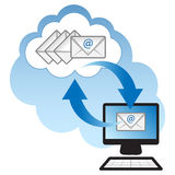 Cloud Computing. Concept. Client computer synchronizing email with the cloud Stock Photo