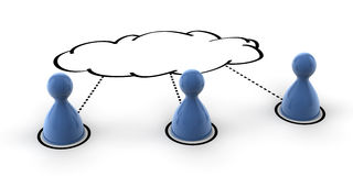 Cloud Computing. A conceptual 3d for social networking and cloud computing Royalty Free Stock Photos