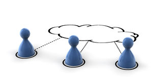 Cloud Computing. A conceptual 3d for social networking and cloud computing Royalty Free Stock Photo