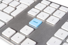 Cloud computing. Keyboard with keypad cloud placed in blank space on standard keyboard - cloud computing concept Royalty Free Stock Photos