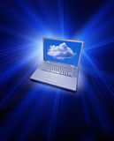 Cloud Computing. A laptop computer with a cloud on the screen Stock Images