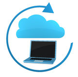 Cloud computing. One notebook with a cloud and an arrow around them (3d render Stock Photos