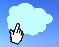 Cloud computing. One hand cursor click on a cloud. concept of cloud computing (3d render Stock Image