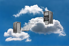 Cloud Computing. A Virtual Machine moves from a cloud Server Rack to the other Royalty Free Stock Photos