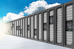 Cloud Computing. A Conceptual vision of a Datacenter on the cloud (Cloud Computing Royalty Free Stock Images