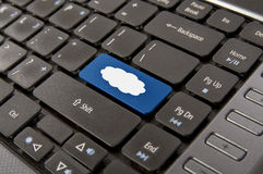 Cloud Computing. Sign on the enter button keyboad laptop royalty free stock photography