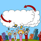 Cloud Computing. An image of a people sharing information via a wireless cloud computing network Stock Image