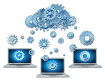 Cloud computing. Symbol represented by a cloud made of gears and cogs raining down on laptop computers that are connected to the virtual servers Stock Photography