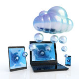 Cloud computing. Mobile devices exchanging information with the cloud service. Hi-res digitally generated image Stock Image